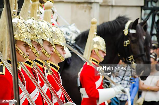 cavalry stands ready for inspection at horse guards - whitehall london stock photos and pictures