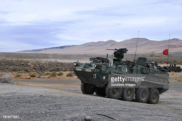 Cavalry troopers fire the Stryker-mounted M2 .50-caliber machine gun.