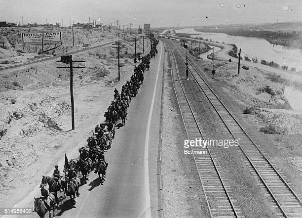 US Cavalry troops gather on the Mexician border The greatest concentration of American troops on the Mexican Border since 1916 is taking place now as...