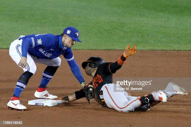 Cavan Biggio of the Toronto Blue Jays tags Jose Iglesias of the Baltimore Orioles as he slides safely into second base during the sixth inning at...