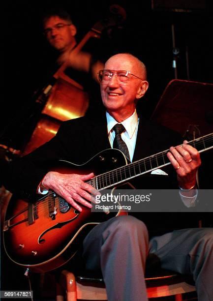 CAVan EpsSmileRH––062198––Veteran jazz guitarist George Van Eps is all smiles as he plays at the Restaurant Kikuya sunday night in Huntington Beach...