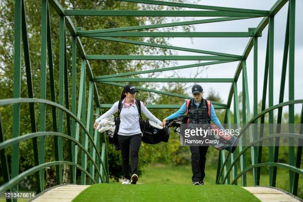 Cavan Ireland 18 May 2020 Irish professional golfer Leona Maguire left and and her twin sister and former professional golfer Lisa Maguire during a...