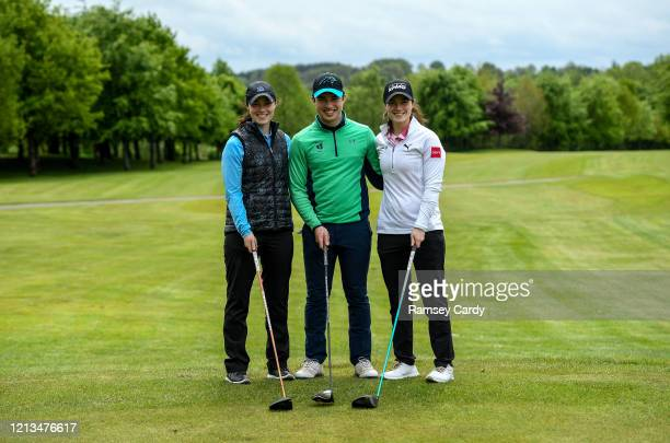 Cavan Ireland 18 May 2020 Irish professional golfer Leona Maguire right her twin sister and former professional Lisa Maguire left and brother Odhrán...