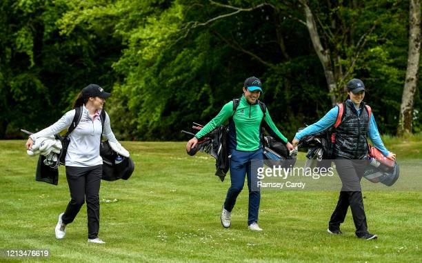 Cavan Ireland 18 May 2020 Irish professional golfer Leona Maguire left her twin sister and former professional Lisa Maguire right and brother Odhrán...