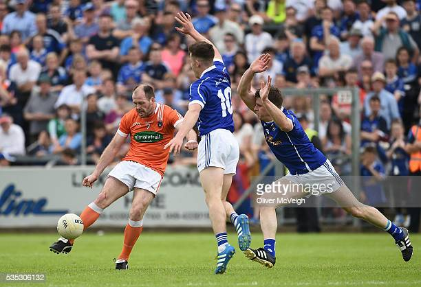 Cavan Ireland 29 May 2016 Ciaran McKeever of Armagh in action against Dara McVetty and Tomas Corr of Cavan during the Ulster GAA Football Senior...