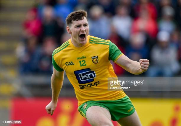 Cavan Ireland 8 June 2019 Jamie Brennan of Donegal celebrates after scoring his side's first goal during the Ulster GAA Football Senior Championship...