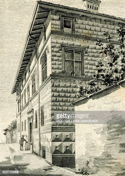 Cavassa House Saluzzo Piedmont Italy woodcut from Le cento citta d'Italia illustrated monthly supplement of Il Secolo Milan 1894