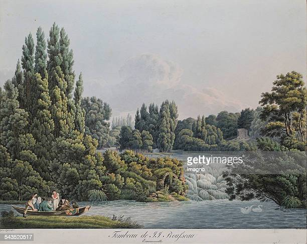 Cave and grave island for JeanJacques Rousseau Garden of Ermenonville Coloured copper engraving About 1820 Liechtenstein The Princely Collections