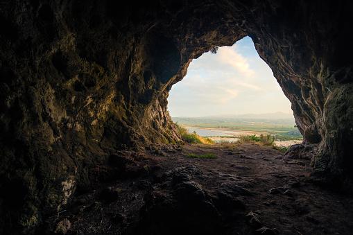 Cave at Navarino castle, Greece 909237716