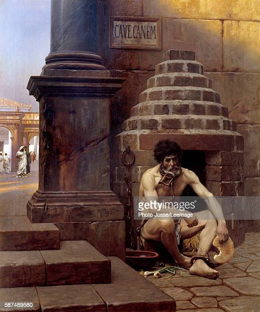 Cave Canem A war prisoner in Roma chained like a dog at a street corner Beware of the dog Painting by Jean Leon Gerome 19th century 106x09 m Georges...