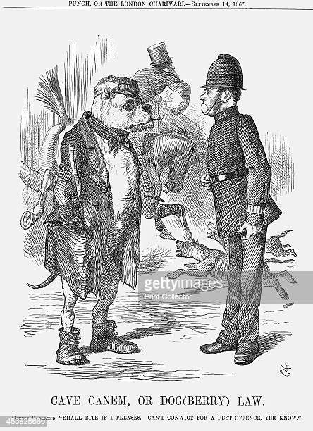 'Cave Canem or Dog Law' 1867 The canine vagabond says Shall Bite if I pleases Can't Conwict for a Fust Offence yer know Therefore the British bobby...