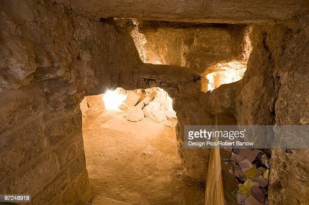cave, church and convent of the pater noster, jerusalem, israel - death and resurrection of jesus stock photos and pictures
