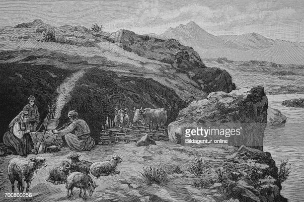 Cave dwellings of the shepherds in Dalmatia Woodcut from 1892