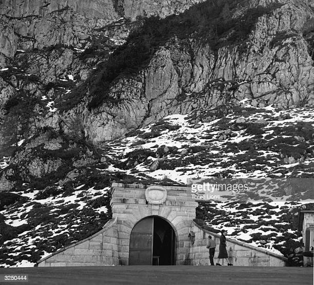 A cave entrance in the Kehlstein Mountain where Hitler kept his mountain bunker A tunnel leads to an elevator which rises 350 feet to the mountain top