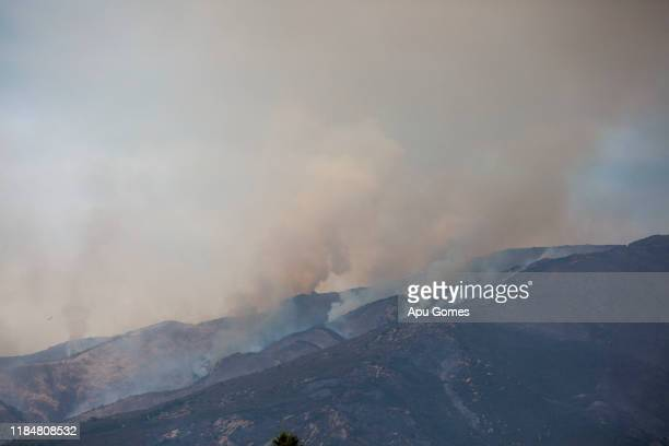 Cave fire burns at Los Padres National Forest on November 26 2019 in Santa Barbara California The fire has caused evacuations of areas of Santa...