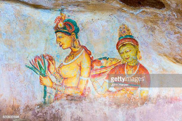 Cave painting, Sigiriya or Lion Rock, Dambulla, Sri Lanka