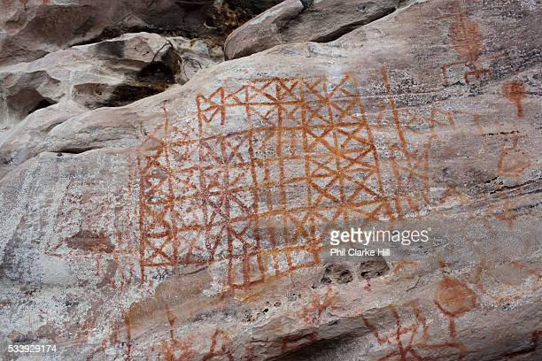 Cave paintings in Monte Alegre near Santarem in Para Amazonia Brazil