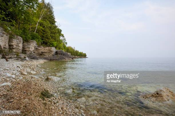 cave point county park - lake michigan stock pictures, royalty-free photos & images