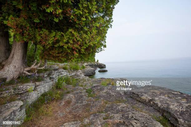 cave point county park - green bay wisconsin - fotografias e filmes do acervo