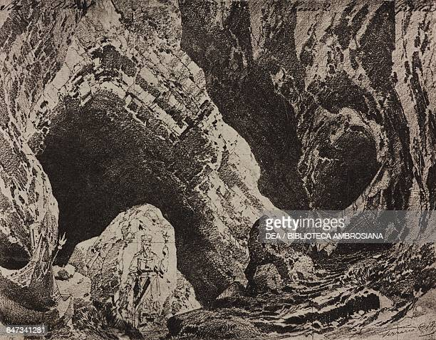 Cave sketch for Act II Scene II of the ballet Delial by Romualdo Marenco Season 1880 from 500 stage design sketches in five volumes by Carlo Ferrario