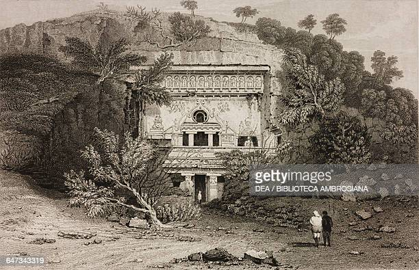 Cave temple of Bisma Kurm Ellora India drawn by Cattermole from original sketches by Commander Robert Elliott from Views in India China and on the...