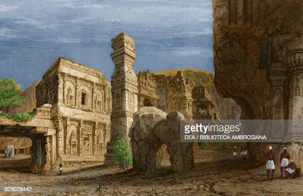 Cave temples in Ellora, India, drawn by Prout from original sketches by Commander Robert Elliott, from Views in India, China, and on the shores of...