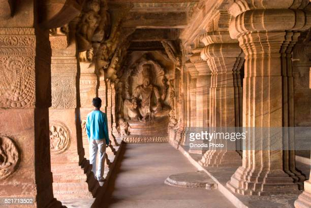 cave three dedicated to vishnu, is the largest and most elaborate at badami, karnataka, india - monument stock pictures, royalty-free photos & images