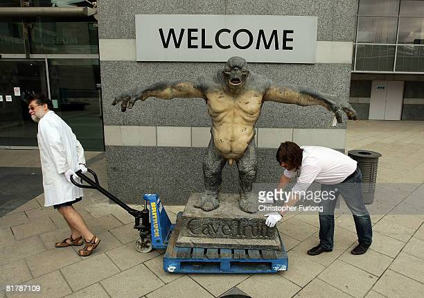 A cave troll from 'The Lord of the Rings' is unloaded ready for exhibition at The Royal Armouries on June 30 Leeds England Peter's sword built using...