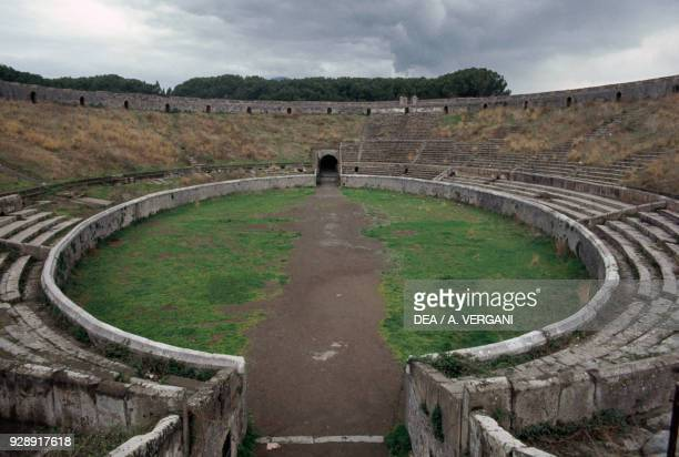 Cavea of the amphitheater Pompeii Campania Italy Roman civilization 1st century BC