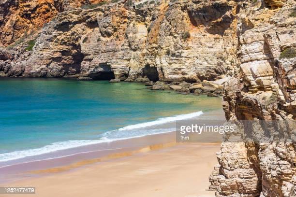 caves at praia do beliche (sagres, portugal) - sagres bildbanksfoton och bilder