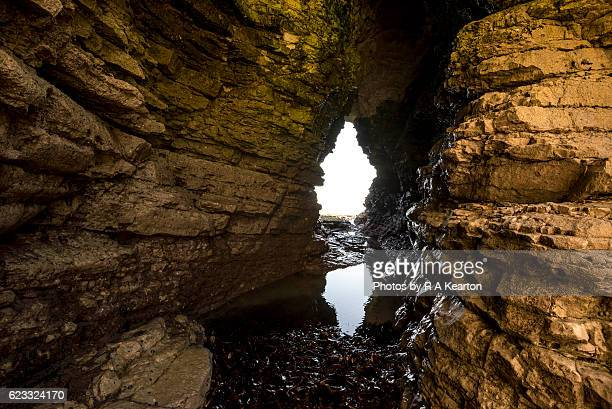 caves at selwicks bay, flamborough, north yorkshire - chalk rock stock pictures, royalty-free photos & images