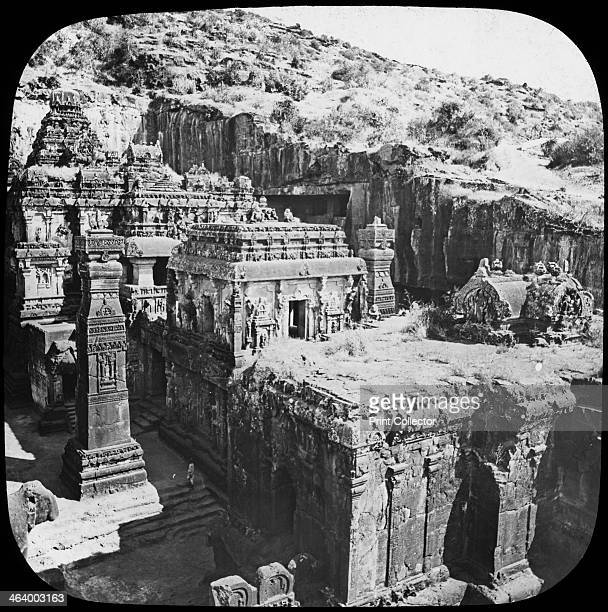 Caves of Ellora, Maharashtra, India, late 19th or early 20th century. Ellora is famous for its ancient rock temples, a series of caves carved out of...