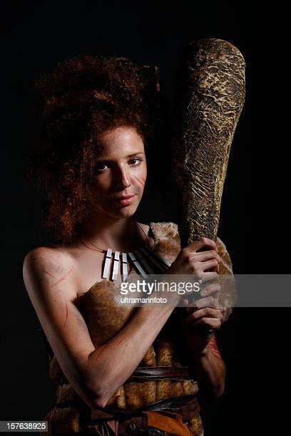 höhlenfrau - steinzeit stock-fotos und bilder