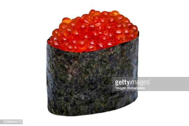 caviar sushi nori isolated on white background - nori stock pictures, royalty-free photos & images