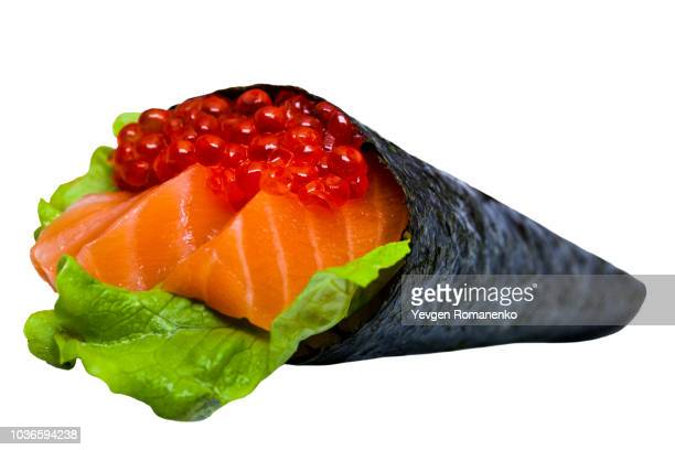 caviar sushi nori with tuna and salmon isolated on white background - nori stock pictures, royalty-free photos & images