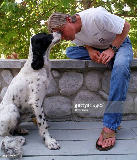 CAVincentchair0725AAG––Actor Jan–Michael Vincent nuzzles his dog Buckwheat at their Coto de Caza home He said having a dog has helped him deal with...