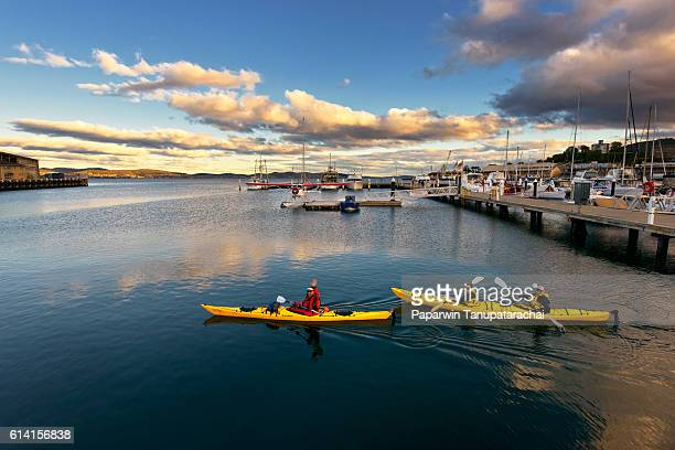 cayaking in a view of the Hobart waterfront, southern Tasmania.