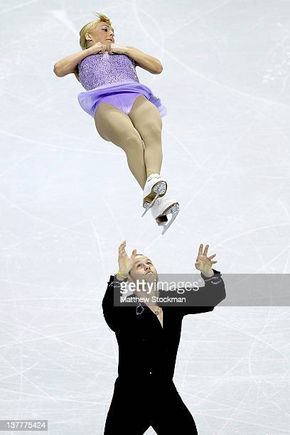 Caydee Denney and John Coughlin compete in the Short Program of the Pairs competition during the 2012 Prudential U.S. Figure Skating Championships at...