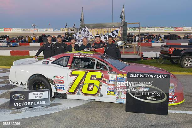 Cayden Lapcevich driver of Bay King Chysler Dodge wins the Velocity Prairie Thunder 250 at Wyant Group Raceway on July 27 2016 in Saskatoon...