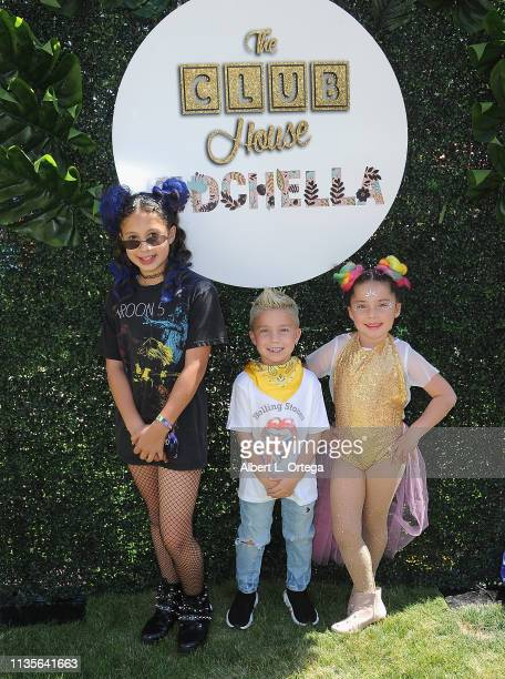 Cayden Mirabai Chloe Mirabai and Celeste Mirabai arrive for Clubhouse Kidchella held at Pershing Square on April 6 2019 in Los Angeles California