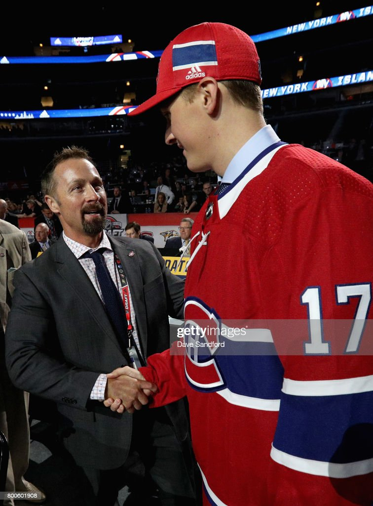 Cayden Primeau greets the team after being selected 199th overall by the Montreal Canadiens during the 2017 NHL Draft at United Center on June 24, 2017 in Chicago, Illinois.