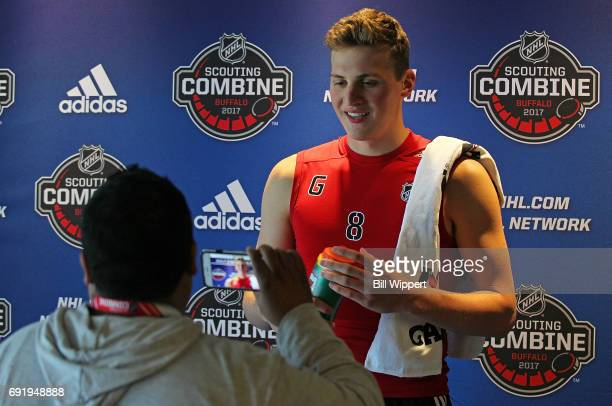Cayden Primeau is interviewd during the NHL Combine at HarborCenter on June 3 2017 in Buffalo New York