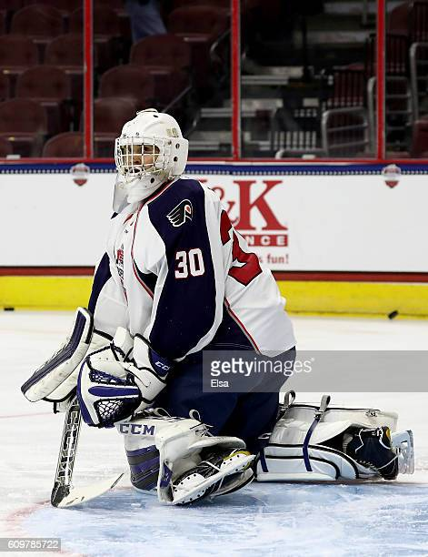 Cayden Primeau of Team LeClair warms up before the game against Team Howe on September 22 2016 at the Wells Fargo Center in Philadelphia Pennsylvania