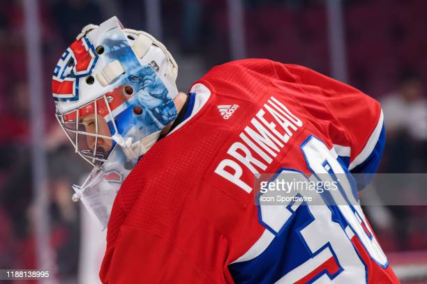 Cayden Primeau of the Montreal Canadiens during the warmup of the NHL game between the Ottawa Senators and the Montreal Canadiens on December 11 at...