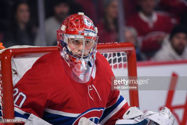 Cayden Primeau of the Montreal Canadiens tends net during the first period of the NHL game between the Ottawa Senators and the Montreal Canadiens on...