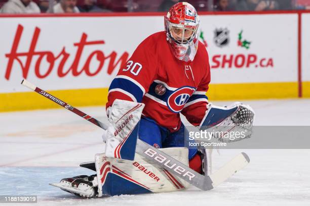 Cayden Primeau of the Montreal Canadiens tends net during the warmup of the NHL game between the Ottawa Senators and the Montreal Canadiens on...