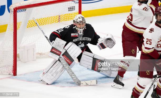 Cayden Primeau of the Northeastern Huskies tends goal against the Boston College Eagles during NCAA hockey in the championship game of the annual...