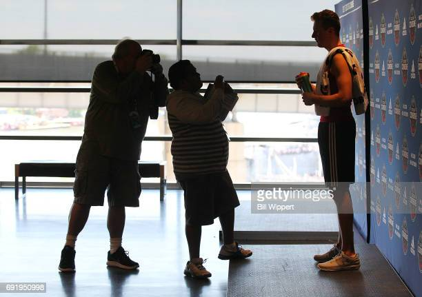 Cayden Primeau poses for photographers during the NHL Combine at HarborCenter on June 3 2017 in Buffalo New York