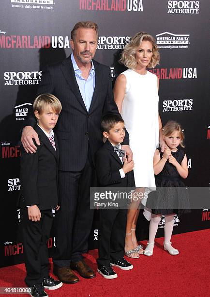 Cayden Wyatt Costner actor Kevin Costner Hayes Logan CostnerChristine Baumgartner and Grace Avery Costner arrive at the world premiere of 'McFarland...