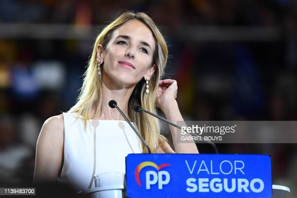 Cayetana Alvarez de Toledo Spanish conservative People's Party candidate in Catalonia addresses the last campaign rally in Madrid on April 26 2019...